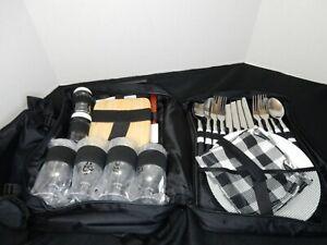 Outdoor Backpack Picnic Basket Travel 2 Person Bag w/Cooler Blanket Utensils