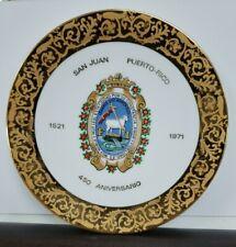 """""""450 ANIVERSARIO de SAN JUAN"""" 1971 Collectible Limoges Plate Puerto Rico Vtg"""