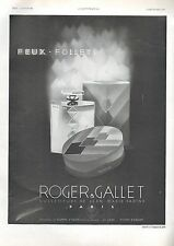 ▬► PUBLICITE ADVERTISING AD PARFUM PERFUME Roger et Gallet Feux-follets 1930