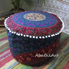 "22"" Indian Pouf Ottoman Pouf Cover Screen Printed Mandala Foot Stool Pouf Covers"