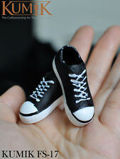 KUMIK FS-17 1/6 Female Man CG Cy Girl,HT Model Black Leather Boots Sports Shoes
