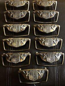 11 Antique KBC Keeler Brass British Coat of Arms Drawer Pulls Lion Unicorn