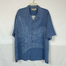 TOMMY BAHAMA Men's Short Sleeve Button Front Shirt Size L Large Blue Floral