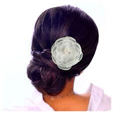 Pince à cheveux bibi mariage cérémonie organza fleur plate blanche taille L
