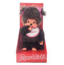 "MONCHHICHI GIRL Sekiguchi 7.75"" Pink Bib Monchichi Plush Collectible Monkey Doll"
