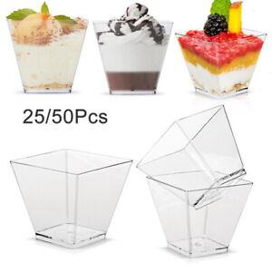 25/50x Kunststoff Clar Kuchen Dessertbecher Einweg Mousse Dessert Cups Tassen^^