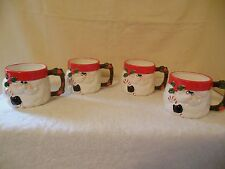 Vintage Set of 4 Omnibus Santa Red Christmas Holiday Coffee Mugs Cups 3D Relief