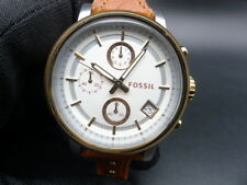 New Old Stock - FOSSIL ES3837 - Chronograph Date Leather Strap Quartz Lady Watch