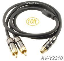 10ft Premium RCA Female to 2-RCA Male flexible/durable Audio Splitter, AV-Y2310
