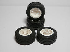 LEGO Set of 4 NEW White Wheel 30.4 x 14 VR, with Black Tire 30.4 x 14 VR Balloon