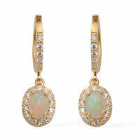 TJC Opal Drop Dangle Earrings Yellow Gold Plated Sterling Silver White Zircon