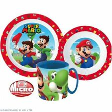 CHILDRENS TODDLER SUPER MARIO  3 PC DINNER BREAKFAST SET PLATE BOWL CUP HANDLE