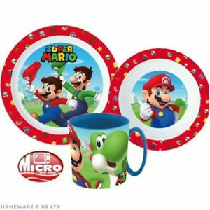 CHILDRENS TODDLER SUPER MARIO RED 3 PC DINNER BREAKFAST SET PLATE BOWL CUP BOXED
