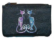 Petit Porte monnaie en cuir porte cles noir Motif Couple de chats