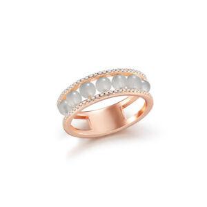 【KOOJADE】White Jadeite Jade Silver Ring《Delux Love》《Grade A》(US.SIZE:5)