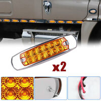 2x Amber Side Marker Light 12 LED Car Clearance Lamp Truck Trailer Beacon Lamps