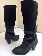 Report Lady Black SUEDE Leather TIE Up Knee Hi SLOUCH Fashion Boots High Heels 9