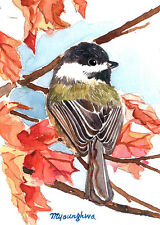ACEO Limited Edition  - Chickadee on maple
