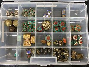 Loose Lot Tibetan Inlaid Stone Metal Beads For Jewelry Craft & Repair
