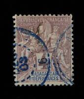 """MADAGASCAR - 1903 - CACHET À NUMÉRO """" MADAGASCAR / 6 """" SUR N°30 4c LILAS-BRUN"""