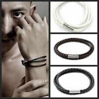 New Elegant Womens Mens Black Leather Interlaced Cuff Bangle Wristband Bracelet