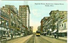 Toledo OH RCA Nipper & #328 Trolley on Superior Street 1914
