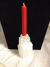White Selenite Chime Candle Holder  WICCAN PAGAN ALTAR