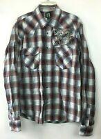 Muskogee Pearl Snap Shirt Mens Size XL Plaid Long Sleeve Blue Buttons Rockabilly