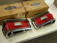 NOS OEM Ford 1974 1975 1976 Torino Tail Light Chrome Bezels Lenses Pair