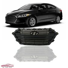 Fit 2017 2018 Hyundai Elantra Front Center Grille Grill Full Gloss Black (Fits: Hyundai Elantra)
