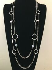 NWT WHITE HOUSE BLACK MARKET Freshwater Pearl Long Double Row Necklace Gold
