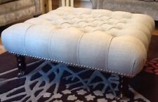Quality Large Deep Buttoned Footstool Laura Ashley Dalton Dove Grey Fabric