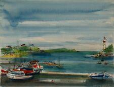 Sacha CHIMKEVITCH- Peinture originale - Petit port Normand 2