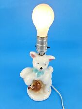 Vintage Working Ceramic Lamb or Sheep Nursery Table Lamp for Child's Bedroom