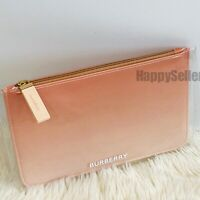 BURBERRY POUCH BAG OMBRE MAKEUP BAG TOILETRY COSMETIC CASE CLEAR PEACH NWT
