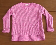 Crewcuts J Crew Girls Size 12 Pink & Gold Shimmer Knit Sweater Wool Blend