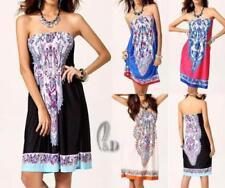 Boho Polyester Strapless Dresses for Women