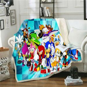 Sonic the Hedgehog 3D Print Blanket Throw Bed Soft Warm Fleece Single Double