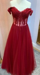 SHERRI HILL STYLE BURGUNDY TULLE BALLGOWN PROM PAGEANT BNWT SIZE 12