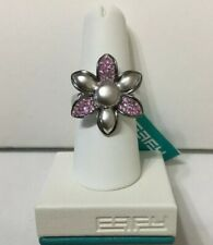 EFFY Flower Ring Silver Pink Sapphire 0.56 Ct Size 7.50 Brand New With Tags NWT