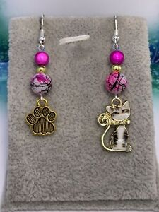 Silver Plated Enamel Cat & Paw Print 💕 Dangle Earrings 💕 Perfect Gift