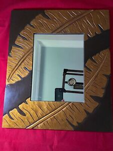 "Gold, Brown Raised Leaf Wall Mirror  20 1/4"" x 23 3/4"""