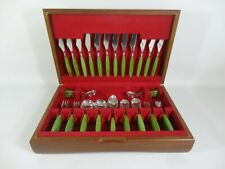 More details for vintage danish scandi style mid century rosebury cutlery butlers set jade green