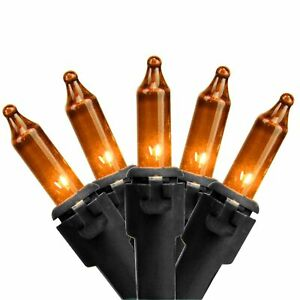 Northlight 100ct Orange Mini Outdoor Christmas String Lights 21.5ft Black Wire