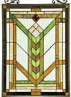 24 5  x 17 5  Pure Mission Tiffany Style Stained Glass Window Panel W  Chain