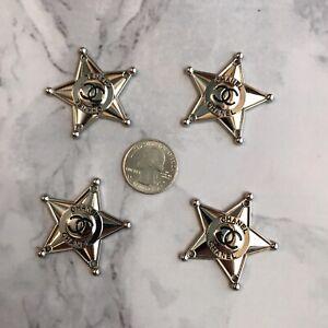 Set Of 4 Designer Star Flat Button Metal 40mm Black/silver