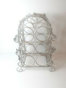 6 Bottle Wine Rack Wrought Iron forge Metal Tabletop Floor Holder with Handle