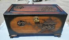 Vintage Oriental Chinese Asian Hand Carved Camphor Lined Wooden Hope Chest Trun