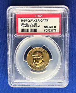 1935 BABE RUTH BASEBALL CHAMPIONS - METAL **PSA 8 NM-MT!** QUAKER OATS PIN