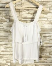 Hippie Laundry Women's White Summer Two Tiered Jumper Strap Top Size L  NWT